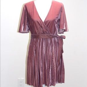 Velvet wrap front pleated dress.  (Optional wrap)
